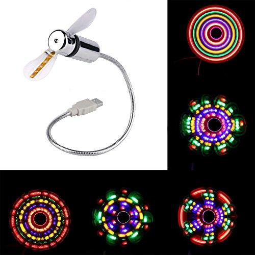 Preisvergleich Produktbild LED USB Fan Licht,  picturer7 Tragbarer USB-Ventilator mit LED-Licht Flexible Mini Schwanenhals Fan für Laptop PC Siehe Abbildung