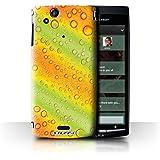 Carcasa/Funda STUFF4 dura para el Sony Xperia Arc S/LT18i / serie: Gotitas de Agua - Verde/Naranja