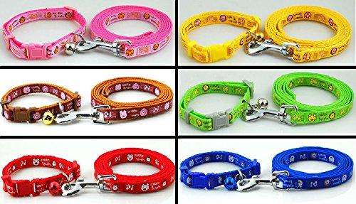 Dog Collar & Lead Leash Set Piggy & Monkey Puppy XS Small Nylon Terrier Scottish Pink Blue UK (Yellow) 1