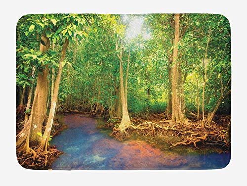 CHKWYN Rainforest Bath Mat, Roots of Mangrove Trees with Turquoise Creek Asian Nature Wildlife Themed Print, Plush Bathroom Decor Mat with Non Slip Backing, 23.6 W X 15.7 W Inches, Green Brown - Root-tray