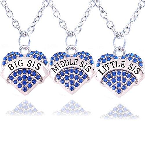3 x Halsketten für Schwestern,silberfarben/blaue Kristalle, Anhänger Herz
