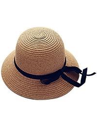 Sombreros de la playa de Sun del verano de la paja de los niños de las muchachas Sombrero de la Amplio-brimmed del Bowknot de los cabritos