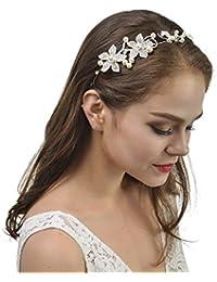 Topwedding Diadema Rhinestone cristalino de la flor de boda nupcial tiara