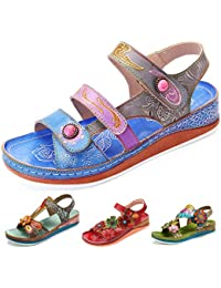 4bf706d1f gracosy Sandalias Cuero Planas Verano Mujer Estilo Bohemia Zapatos para  Mujer de Dedo Sandalias Talla Grande