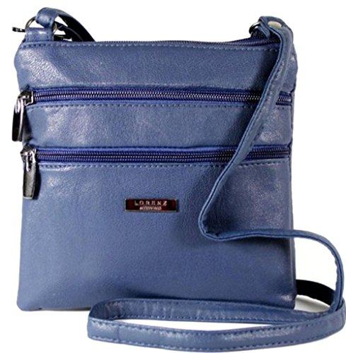 Lorenz Piccolo PU Pelle Doppia sezione Bag–Borsa a tracolla Borsetta, BRIGHT RED (multicolore) - 5860 (Blu)