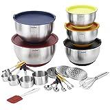 VonShef 17-teiliges Premium Mix-Paket mit 5 Edelstahl Rührschüsseln, Messlöffel Set, Messbecher Set, Schneebesen & Teigschaber