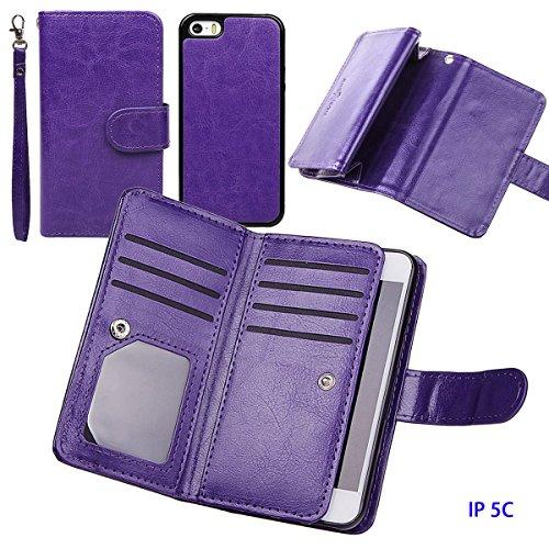 iPhone 5C Hülle wallet case,xhorizon TM FM8 2 in 1 Premium Leder [Brieftasche Funktion] [Magnetisch Abnehmbar] Wristlet Geldbörse Mehrfache Karten-Schlitze Abdeckung Folio Schutzhüller für iPhone 5C M Lila