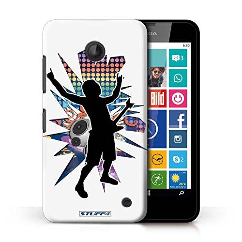 Kobalt® Imprimé Etui / Coque pour Nokia Lumia 635 / Saut Blanc conception / Série Rock Star Pose Rock n Roll Blanc