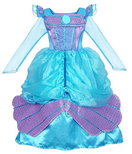 AmzBarley Meerjungfrau Kostüm Kleid Kinder Mädchen Ariel Kostüme Prinzessin Kleider Abendkleid Halloween Cosplay Verrücktes Kleid Geburtstag Party Ankleiden