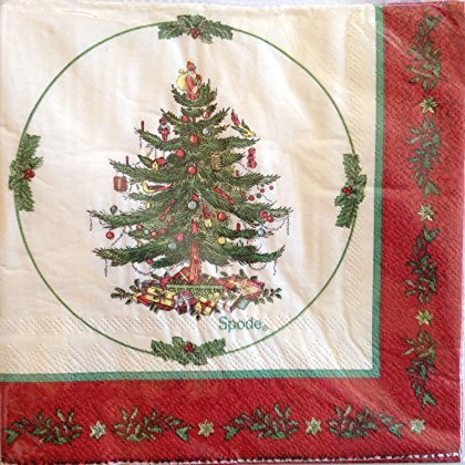 Spode Christmas 403-lagig Getränke Servietten, rot Bordüre -