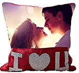 """Personalized Diamond 'I Love You' Pillow - 15"""" x 15"""" - PW0030 - Customize with Your Photos & Messages"""