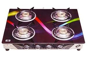 Laxmi Superior kia Model 4 Burner Black Glass Top Gas Stove With Rainbow Digital Print