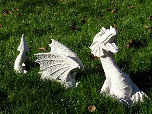 Arbrikadrex Drache aus Erde 3 teilig Steinfigur Gartenfigur Steinguss Gargoyle Garten Deko
