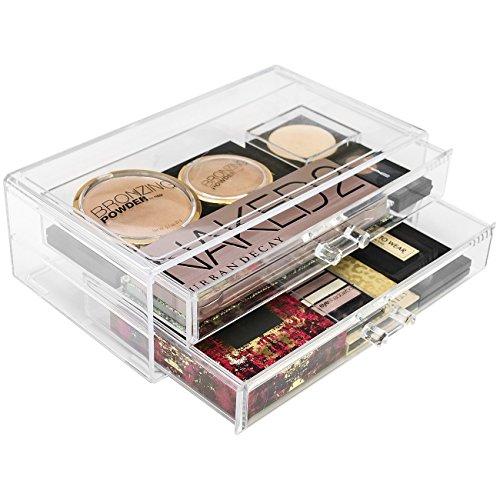 Interlocking-display-kit (Hersbrucker® Acryl Cosmetics Make-up und Schmuck Storage Case Display Sets Interlocking Schubladen Ihre eigenen Speziell Make-up Zähler, stapelbar und austauschbar, acryl, 2-Drawer, Large)