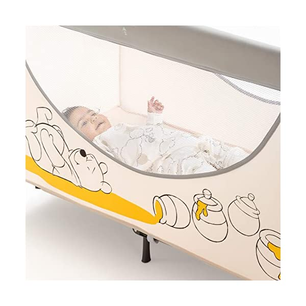 Hauck Dream N Play Go, 5-Part Travel Cot from Birth to 15 kg, 120 x 60 cm, Folding Travel Bed with Folding Mattress, Carry Bag, Play Arch and Toy Bag, Tilt-Resistant, Pooh Cuddles Disney Suitable from birth Includes fold up mattress (60 x 120cm) Folds away into its own carry bag 11