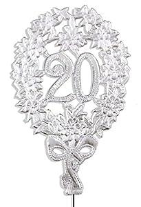 kunze a014040202aniversario número 20, 8x 12cm, con alambre de sujeción, 10unidades), color plateado