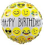 Folienballons zum Geburtstag kaufen & Kinder-Geburtstag, Smiley - Emoji Party und Dekoration - Happy Birthday - auffüllbar, 45cm / 18 Zoll, von Santa Cruz Club
