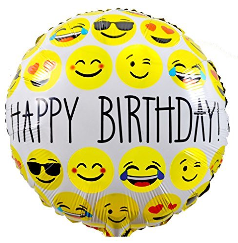 Folienballons zum Geburtstag kaufen & Kinder-Geburtstag, Smiley - Emoji Party und Dekoration - Happy Birthday - auffüllbar, 45cm / 18 Zoll, von Santa Cruz Club