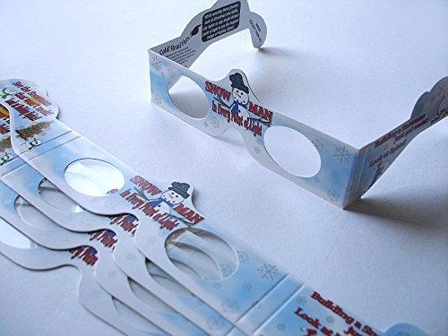 5 Stück HoloSpex 3D Brille Snowman, Schneemann, Weihnachten (Happy Eyes, Holiday Specs) / Weihnachtsbrille, Effektbrille, Partybrille, Spaßbrille