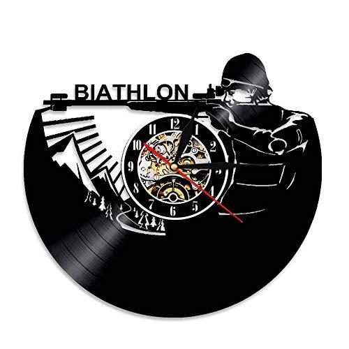 KIrSv Vinyl-Wanduhr 1 Stück Biathlon Schallplatte Wanduhr Personalisierte Sport Thema Led Wandleuchte Vinyl Uhr Handgemachtes Geschenk Für Soldaten (1. Geburtstag Cowboy-thema)