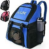 Lux Sports - Zaino da calcio con scomparto porta-palla; per sport, ragazzi, uomini, ragazze, squadra, futsal, basket, pallavolo, palestra, Blu