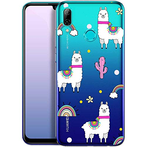 OOH!COLOR Handyhülle kompatibel mit Huawei P Smart 2019 Hülle transparent mit Motiv Silikon Case Ultra dünn Bumper Tier Lamas (EINWEG)