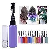 Pink : 15ml Temporary Non-toxic Color Hair Dye Unisex Fancy Dress Makeup DIY