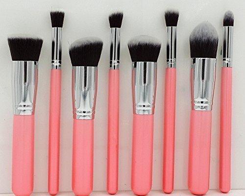8 PCS Kit de Pinceau maquillage Ombre à Argent Rose pourpre Blush Fondation liquide Pinceau Poudre Fond de teint Anti-cerne Kit Pinceaux