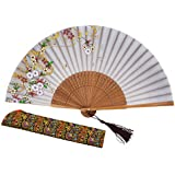 "Amajiji Charming Elegant Modern Woman Handmade Bamboo Silk 8.27"" (21cm) Folding Pocket Purse Hand Fan, Collapsible Transparent Holding Painted Fan With Silk Pouches/ Wrapping LXHSZ (LXHS-21)"