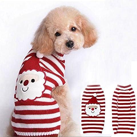 Weihnachten Hundekleidung - Kingwo Hund Hund Santa Claus bedruckt Kleidung Welpen Winter Pullover Kostüm Jacke Mantel (Männliche Kaninchen-kostüm)