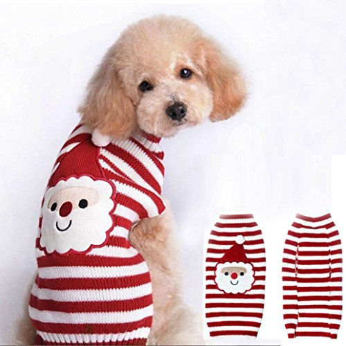 Weihnachten Hundekleidung - Kingwo Hund Hund Santa Claus bedruckt Kleidung Welpen Winter Pullover Kostüm Jacke Mantel (M)