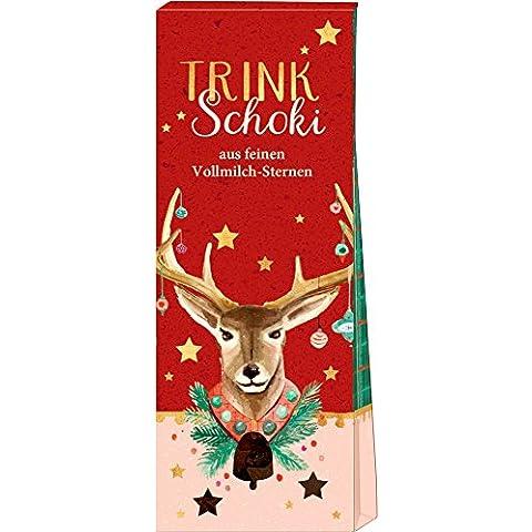 Reno. Caja Regalo Chocolate Liquido Navidades. Invierno. Rojo con Estrellas de Spiegelburg (Leche