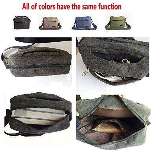 Freedom-vp Vintage Canvas Herren Schultertasche Umhängetasche Messenger Bag Designer Reisetasche Taschen für Arbeit Schule Uni Weekender Freitag Praktisch Strandtasche Sporttasche Tasche Schwarz