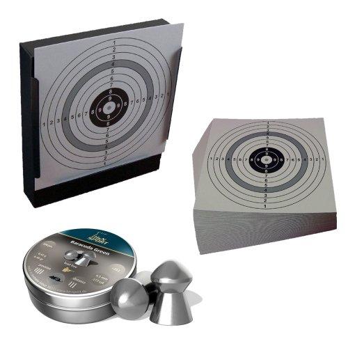 Kugelfang / Scheibenkasten + H&N Baracuda Green Diabolos Kal. 4,5 mm + 125 ShoXx.® shoot-club Zielscheiben 14x14 cm mit zusätzlichen grauen Ring und 250 g/m² - Baracuda Ring