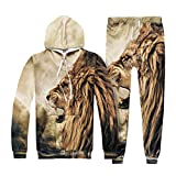 NiSeng Jogginganzug zum Herren Sporthosen Sweatshirt Hooded Sweat 3D Digitaldruck Löwe L