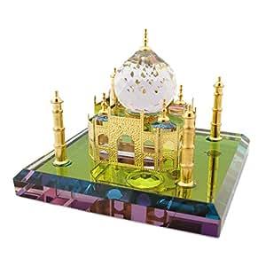 Mini Size World Wonder ''The Taj Mahal'' Show Piece made of Crystal - Gold