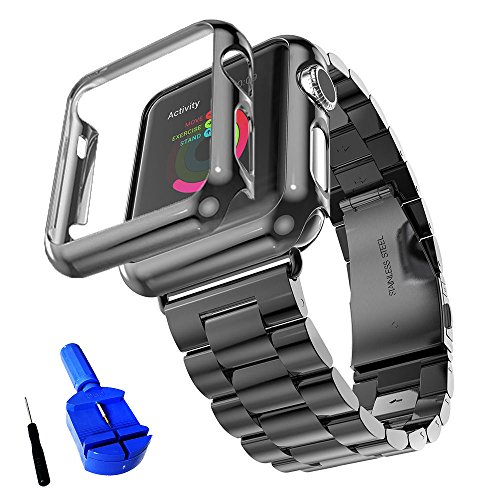 Preisvergleich Produktbild Huanlong Solid Stainless Steel Metal Strap Band w / Adapter+Case Cover for Apple Watch iWatch 38 / 42mm (42MM,  BLACK)