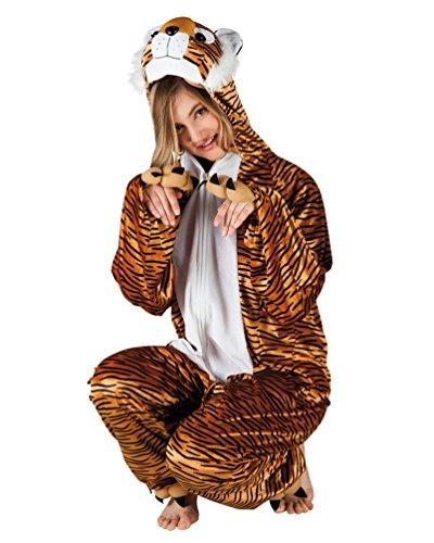 Karneval-Klamotten Tiger Kostüm Damen Bageera aus Plüsch Tiger-Overall Karneval Tier-Kostüm Damen-Kostüm - Plüsch Tiger Kostüm