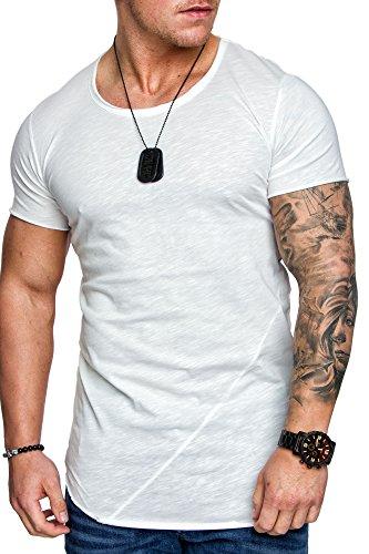 Amaci&Sons Oversize Herren Vintage T-Shirt Verwaschen Crew Neck Rundhals Basic Shirt 6005