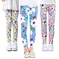 Z-Chen 3 Pack Kids Girls Pants Floral Pattern Leggings, Color B, 6-7 Years