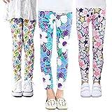 Z-Chen 3 Pares de Pantalones Leggings para Niñas Chicas Estampado de Flores, Color B, 8-9 Años