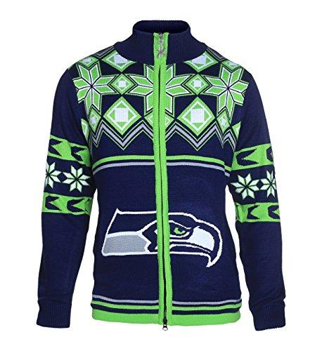 FOCO NFL Split Logo Ugly Sweater Jacket, Unisex, Team Color, Medium Hockey Logo Sweatshirt