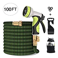 MODAR Garden Hose, Flexible Expandable Anti-leakage Lightweight Hose with Solid Brass Fittings 9 Function Spray Nozzle (100Feet-BlackGreen)