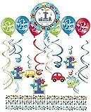 Libetui Erster Geburtstag Junge Dekoration Set ' Birthday Boy' 1.Geburtstag Deko Girlande Spirale Luftballon Konfetti