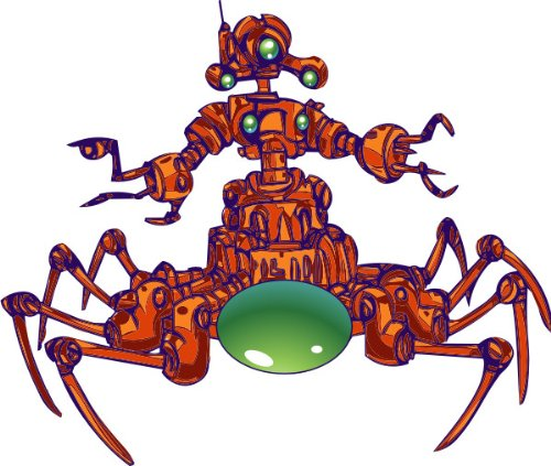 T-Shirt E014 Schönes T-Shirt mit farbigem Brustaufdruck - Comic / grüne Roboter Spinne mit langen Beinen Schwarz