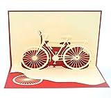 medigy 3D Pop up Grußkarten Fahrrad blanko Karten für die meisten occastions rot