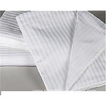 Crafts lino 1QTY sábana de algodón egipcio sábana acabado lujoso satén cómodo (blanco de rayas, emperador tamaño)