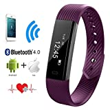 Heart Rate Monitor, QIMAOO Bluetooth 4.0 Fitness Activity Tracker Wrist Band Bracelet Smart Watch Wristband with Health Sleep Monitor/Pedometer/Calorier for Android IOS and above Smart Phones (Purple)