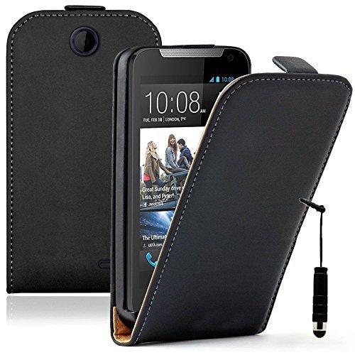 Preisvergleich Produktbild HCN PHONE htc desire 310 Cover ultradünn Cover Kunstleder geringer Klappe vertikal für HTC desire 310 - schwarz + Mini-Eingabestift