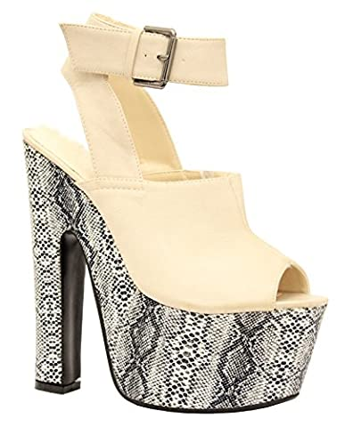 Ladies Womens Super Hi Platform High Heel Ankle Strap Chunky Sandals Shoes Size